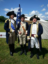 General George Washington (Carl Closs), General Lafayette and Colonel Alexander Hamilton (Gene Pisasale) at the Battle of Brandywine Reenactment 2014